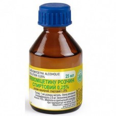 ЛЕВОМИЦЕТИН раствор н/к, спирт. 0,25 % по 25 мл во флак.