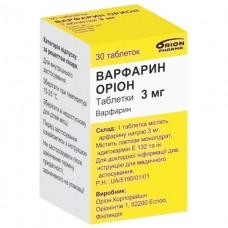 ВАРФАРИН ОРИОН таблетки по 3 мг №30 во флак.