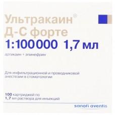 УЛЬТРАКАИН® Д-С ФОРТЕ раствор д/ин. по 1,7 мл в картр. №100 (10х10)