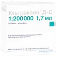 УЛЬТРАКАИН® Д-С раствор д/ин. по 1,7 мл в картр. №100 (10х10)