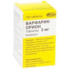 ВАРФАРИН ОРИОН таблетки по 3 мг №100 во флак.
