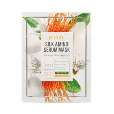 PETITFEE Маска для лица с протеинами шелка Silk Amino Serum Mask  (1шт)