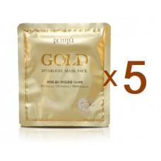 PETITFEE Маска гидрогелевая для лица с золотым комплексом +5 Gold Hydrogel Mask Pack  (5шт)