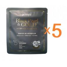 PETITFEE Маска гидрогелевая с золотом и черным жемчугом Black Pearl & Gold Hydrogel Mask Pack (5шт)