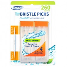 Deep Clean Bristle Picks Глубокое очищение Зубочистки + 4 футляра 260 шт.