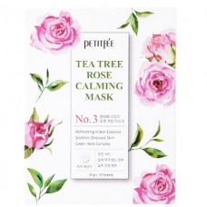 PETITFEE Успокаивающая маска для лица с экстрактом чайного дерева и розы 25g - 10 шт